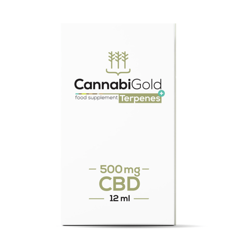 CannabiGold Terpenes+ CBD Oil 12ml - 500mg - Package Front