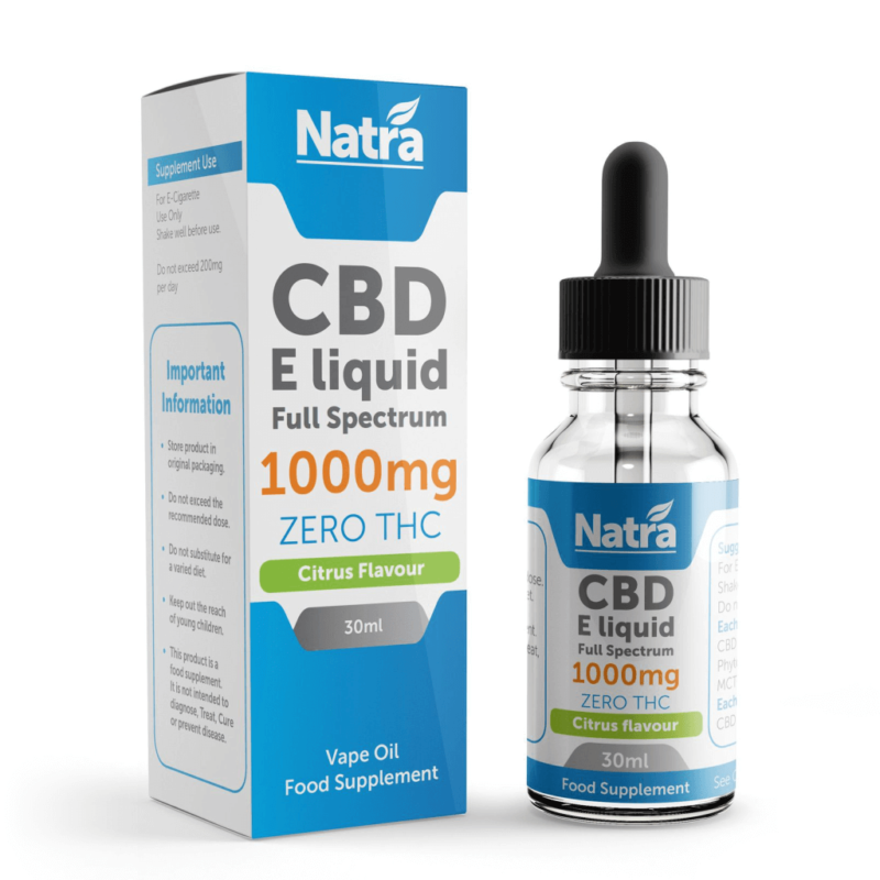 Natra CBD E-Liquid Citrus Flavour 30ml - 1000mg