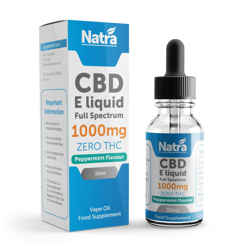 Natra CBD E-Liquid Peppermint Flavour 30ml - 1000mg