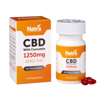Natra CBD Softgels With Curcumin 1250mg