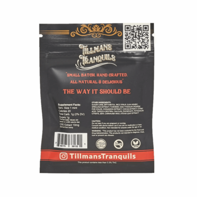 Tillman Tranquils Cinnamon Full Spectrum CBD Mints - Back