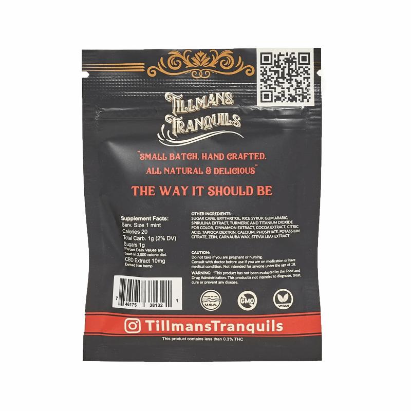 Tillman Tranquils Cinnamon Full Spectrum CBD Mints - Back