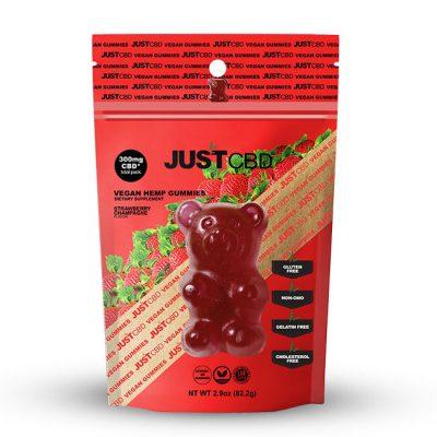 JustCBD Strawberry Champagne Bear Gummies 300mg