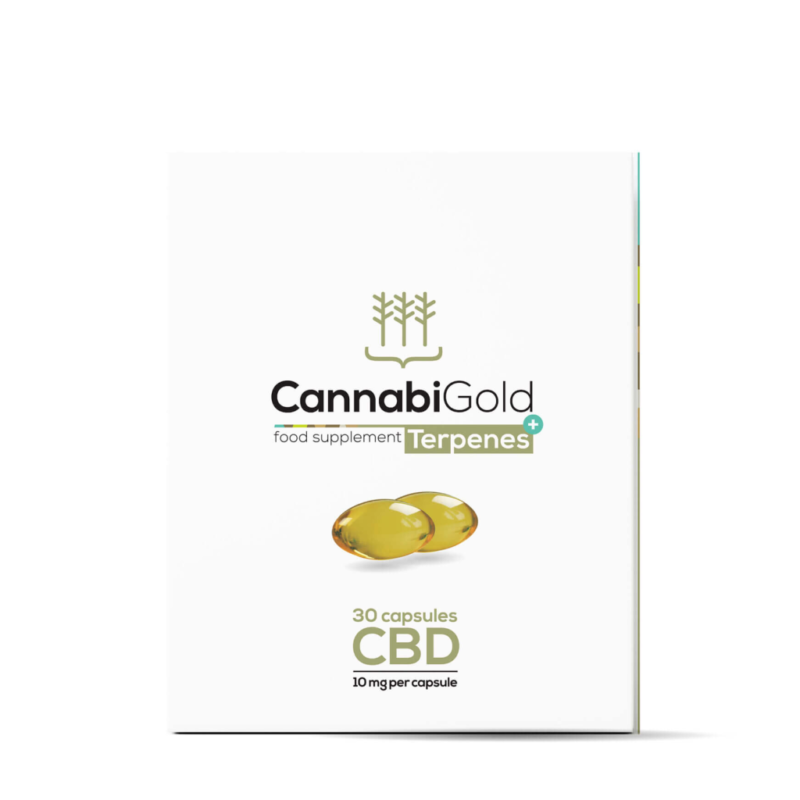 CannabiGold Terpenes+ Capsules - Box Front