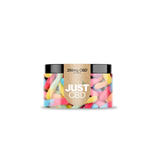 JustCBD Gummies 250mg Jar - Sour Worms