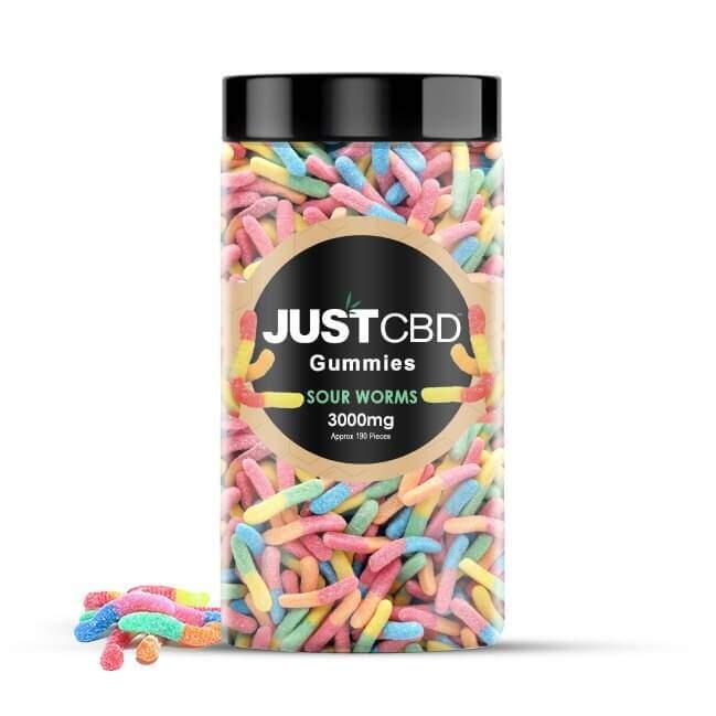 JustCBD Gummies 3000mg Jar - Sour Worms