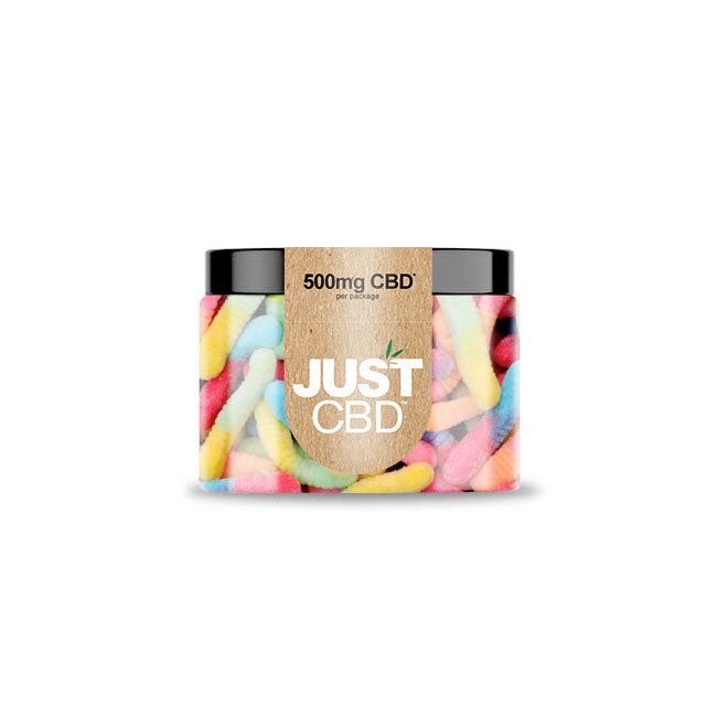 JustCBD Gummies 500mg Jar - Sour Worms